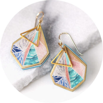 small gold peach triangle art earrings NEXT ROMANCE