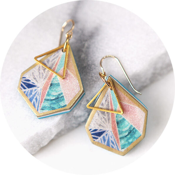 _SNOWFLAKE triangle art earrings – peach sunset – silver or gold