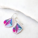 small pink triangle art signature earrings NEXT ROMANCE unique jewellery