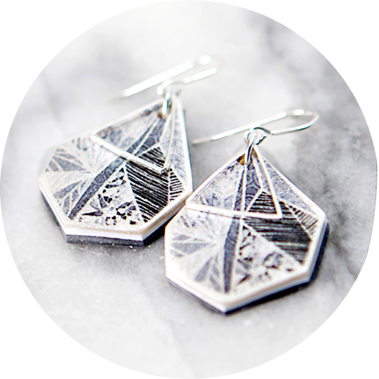 snowflake geo art GREY earrings NEXT ROMANCE black grey white melbourne architectural jewellery