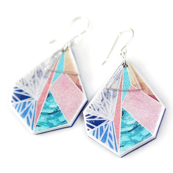 SNOWFLAKE art earrings – peach sunset