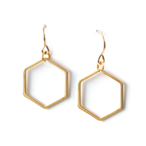 soft gold hexagon modern earrings