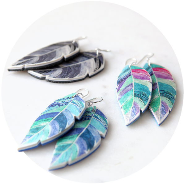 statement bliss feather art earrings NEXT ROMANCE jewellery