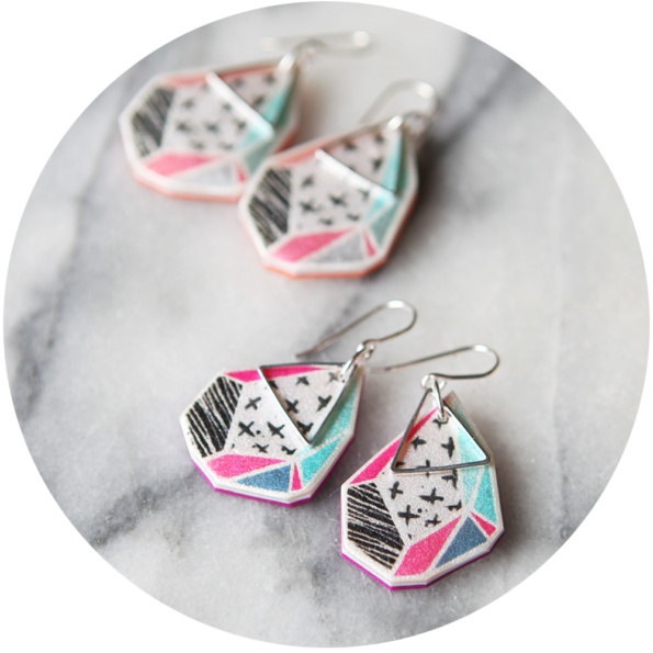 tangerine and watermelon crosses earrings geometric art NEXT ROMANCE