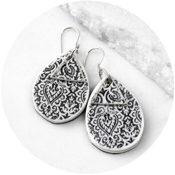 black teardrop textured art morocco earring wedding bridesmaid gift NEXT ROMANCE unique jewellery australia