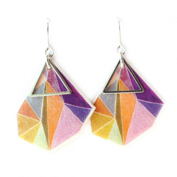 _Triangle art earrings – lilac orange pink – choose size and finish