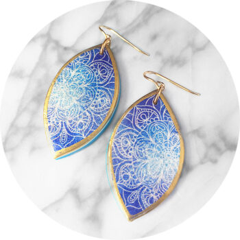 mandala blue gold marquee earring design handmade unique NEW Next Romance Jewels Vicki Leigh Australia