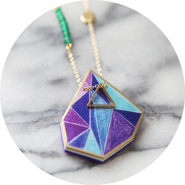 triangle art NEXT ROMANCE jewellery necklace purple cyan blue australian design vicki leigh new