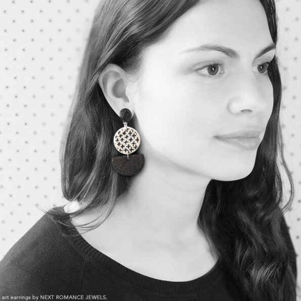 black cross half circle chandelier earrings on next romance
