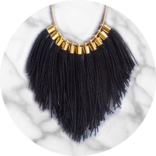 tassel necklace fabulous fringe – black