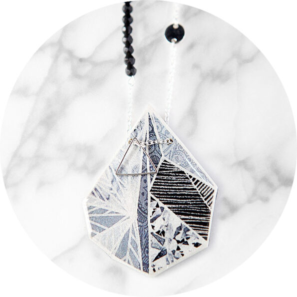 black snowflake triangle wearable art next romance necklace grey unique silver chain jewellery australia melbourne contemporary