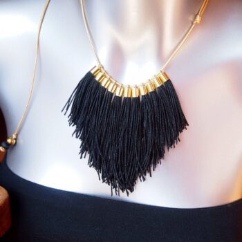 black fringe tassel necklace NEXT ROMANCE jewellery australia unique