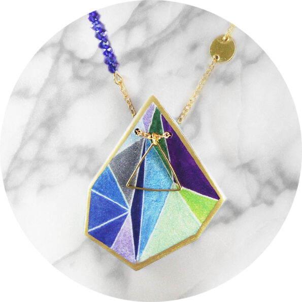 Triangle art illustrated necklace – blue purple green