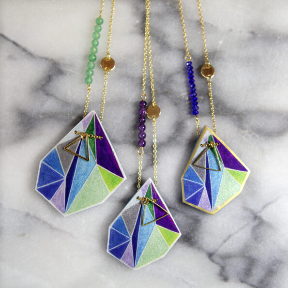 blue purple triangle geo art pendant next romance