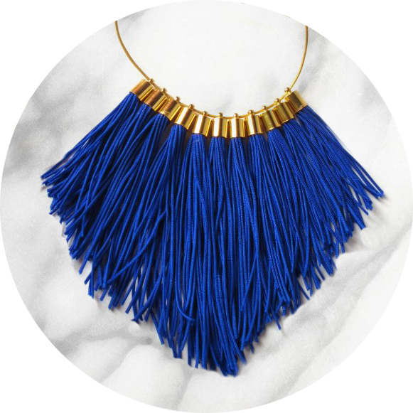 tassel necklace fabulous fringe – royal blue statement necklace