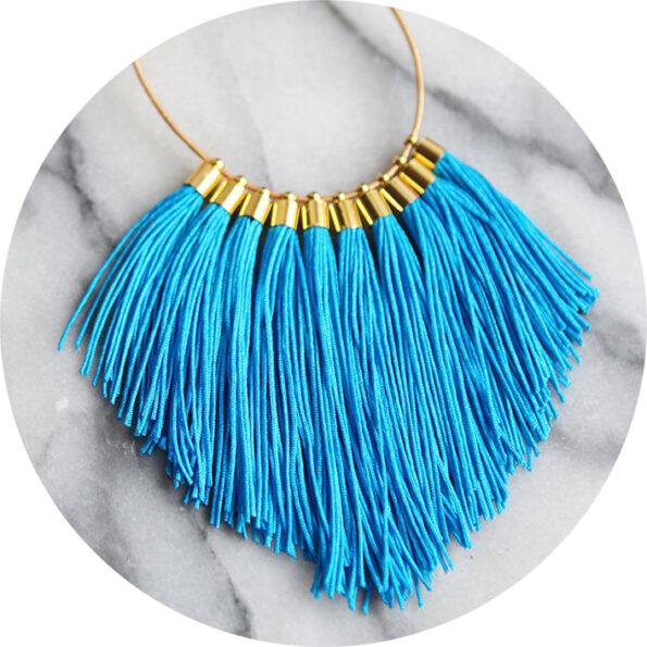 tassel necklace fabulous fringe – bright blue statement