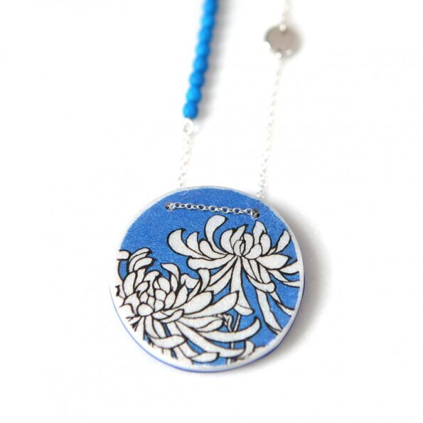 CHRYSANTHEMUM illustrated japanese style art necklace