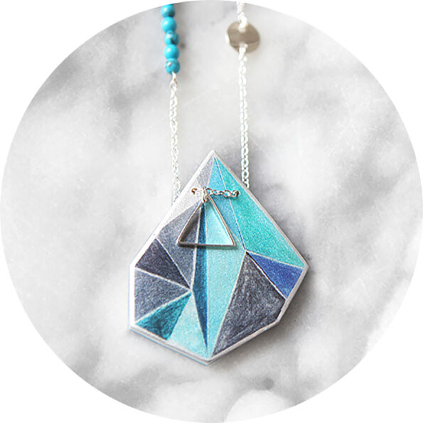 TRIANGLE ART illustrated necklace – cyan blue grey
