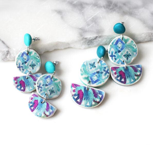 double drop bali dreaming green blue earrings next romance jewellery australia