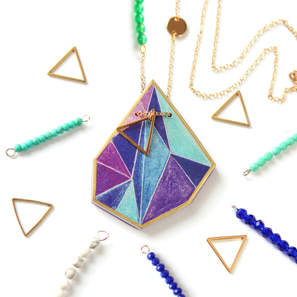 gold purple blue triangle art NEXT ROMANCE jewellery necklace australian design vicki leigh new