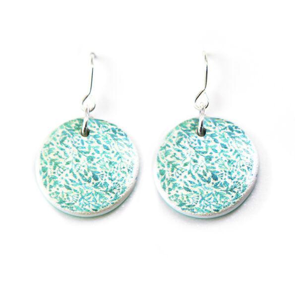 GARDEN floral watercolour art earrings – green