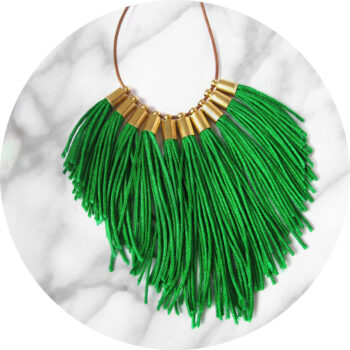 green fringe tassel necklace NEXT ROMANCE jewellery australia unique circle