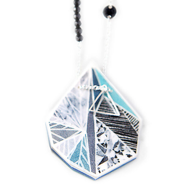 SNOWFLAKE triangle art illustrated necklace – teal green grey