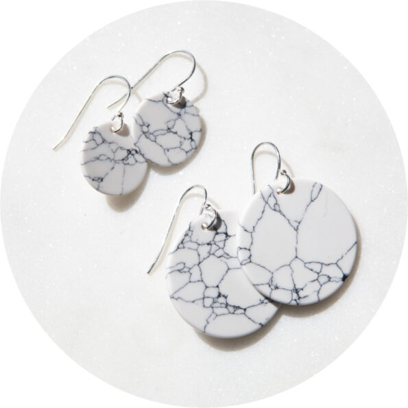 Next Romance marble coin earrings sterling silver jewellery Australia