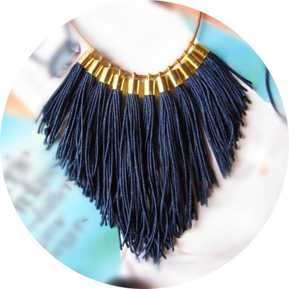 tassel necklace fabulous fringe – navy