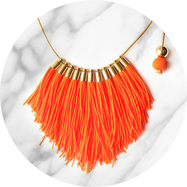 tassel necklace fabulous fringe – orange neon