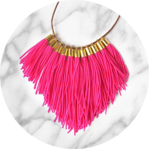 tassel necklace fabulous fringe – pink neon