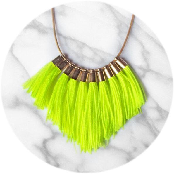 neon yellow fringe tassel necklace NEXT ROMANCE jewellery australia unique