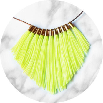 neon yellow fringe tassel necklace NEXT ROMANCE jewellery australia unique