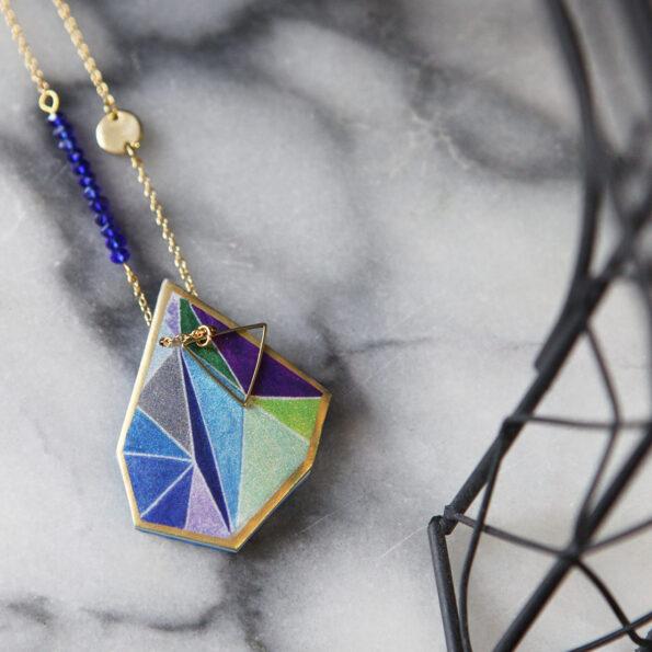 paris gold blue purple triangle art necklace next romance vicki leigh australia