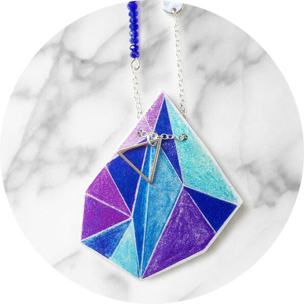 TRIANGLE ART illustrated necklace – purple cyan