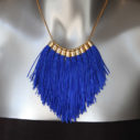 royal blue fringe tassel necklace GOLD next romance