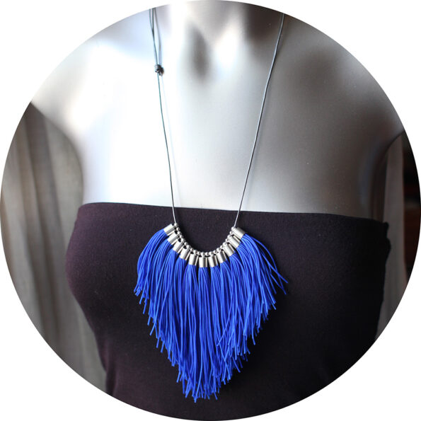 royal blue fringe tassel necklace NEXT ROMANCE jewellery silver