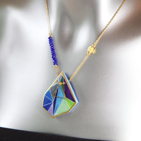 short blue purple triangle art pendant geo next romance jewels melbourne