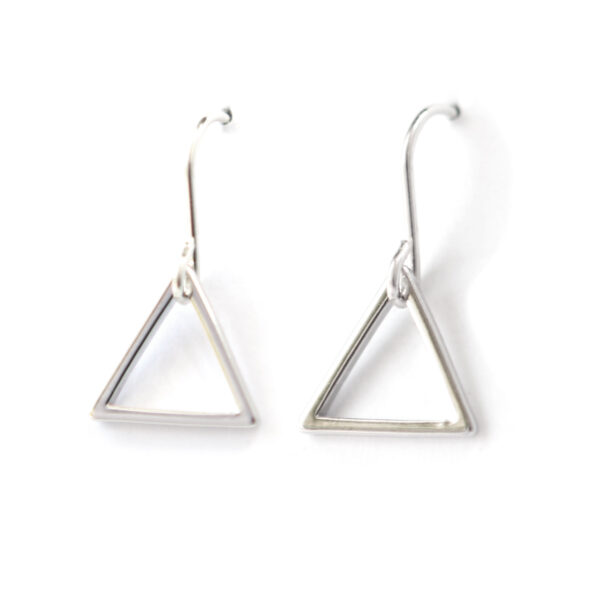 TRIANGLE minimal geometric earrings – silver gold or rose