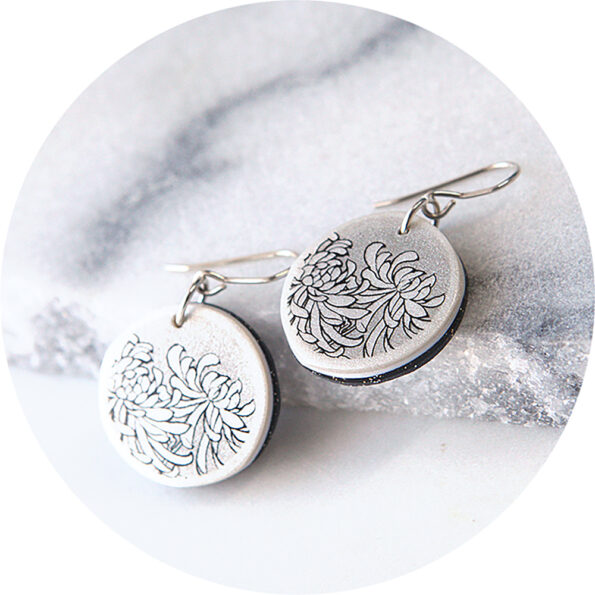 CHRYSANTHEMUM graphic art earrings Next Romance Jewellery