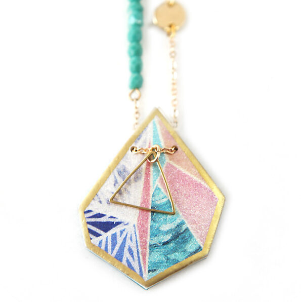 SNOWFLAKE triangle art illustrated necklace – peach sunset