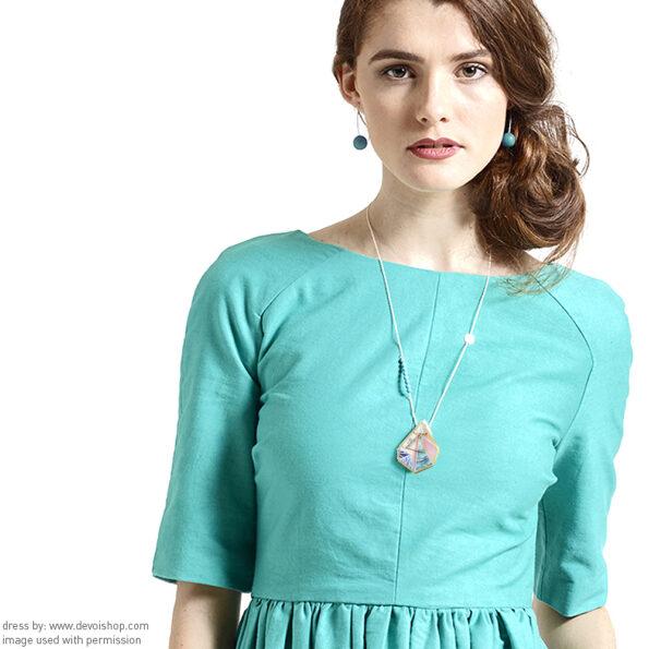 sunset triangle Next romance necklace Libby Dress Aqua front DEVOI