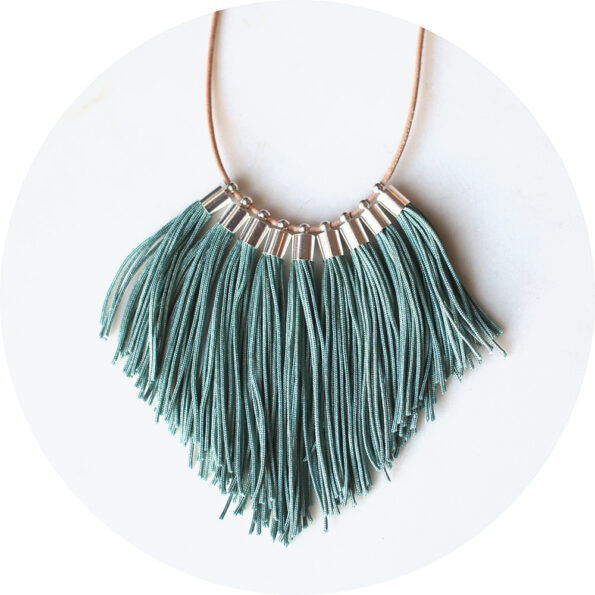 tassel fringe necklace smokey blue next romance jewels australian
