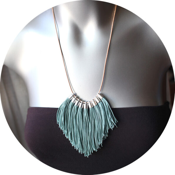 tassel fringe necklace smokey blue next romance jewels australian design