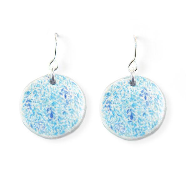 GARDEN floral watercolour art earrings – teal blue