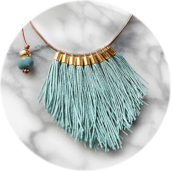 tassel necklace fabulous fringe – tiff teal blue