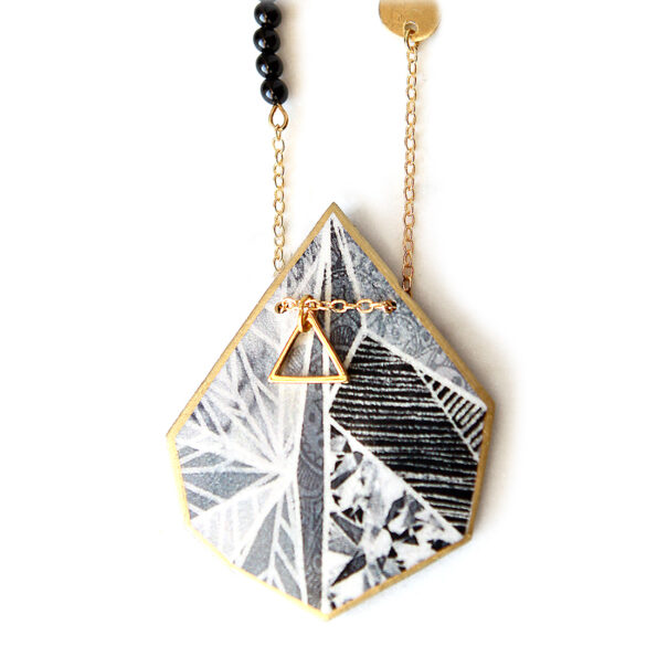 SNOWFLAKE triangle art illustrated necklace – black grey