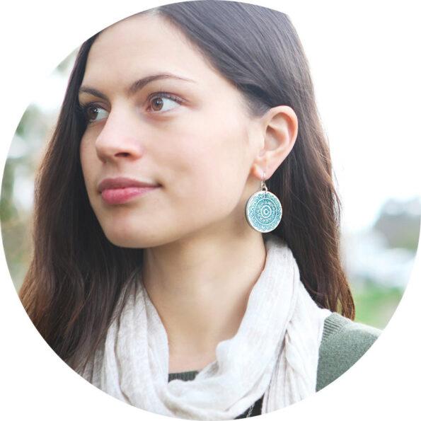 unique earrings green-mandala gradient- next romance