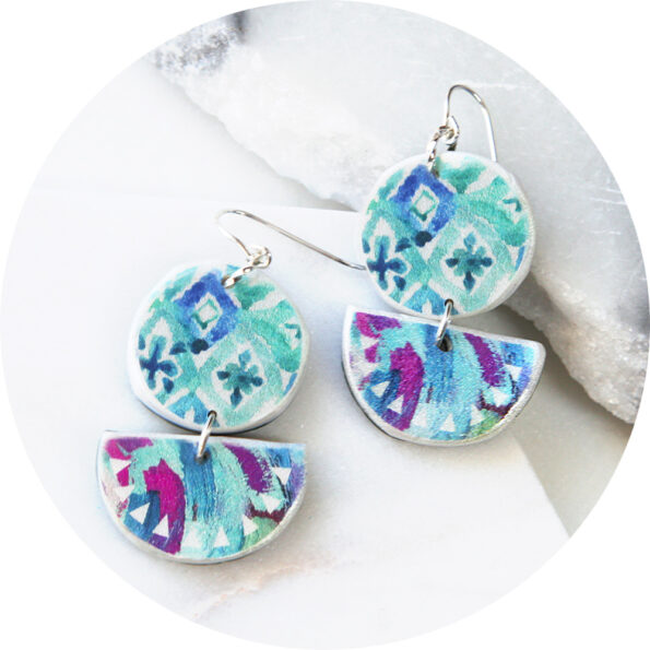 MOROCCO watercolour half moon and circle art earrings – green blue