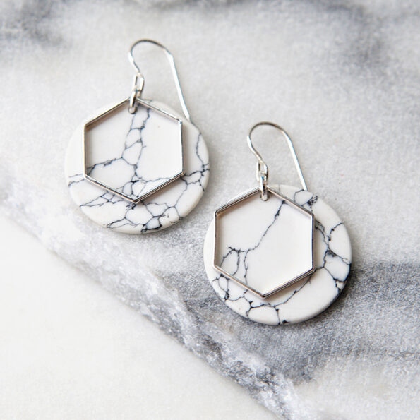 MARBLED coin HEXAGON modern earrings – silver, gold, rose gold